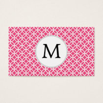 Personalized Monogram Pink rings pattern Business Card