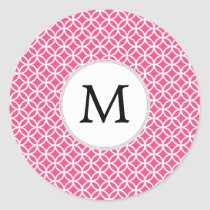 Personalized Monogram Pink rings pattern Classic Round Sticker