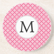Personalized Monogram Pink rings pattern Drink Coaster