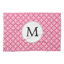 Personalized Monogram Pink rings pattern Hand Towels
