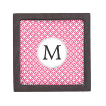 Personalized Monogram Pink rings pattern Jewelry Box