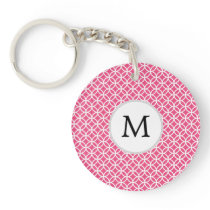 Personalized Monogram Pink rings pattern Keychain