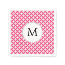 Personalized Monogram Pink rings pattern Paper Napkin