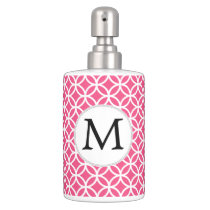 Personalized Monogram Pink rings pattern Soap Dispenser & Toothbrush Holder