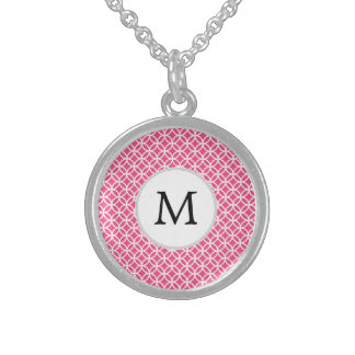 Personalized Monogram Pink rings pattern Sterling Silver Necklace