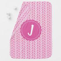 Personalized Monogram Pink Teddy Bears Baby Blanket