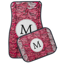 Personalized Monogram Pink Zebra Stripes Car Mat