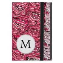 Personalized Monogram Pink Zebra Stripes pattern Covers For iPad Mini