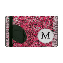 Personalized Monogram Pink Zebra Stripes pattern iPad Case