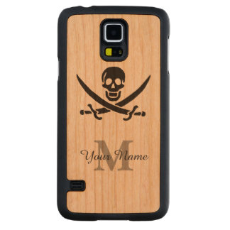 Personalized monogram pirate flag carved® cherry galaxy s5 slim case