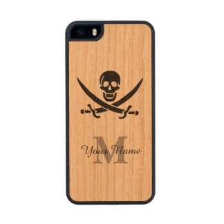 Personalized monogram pirate flag wood phone case for iPhone SE/5/5s