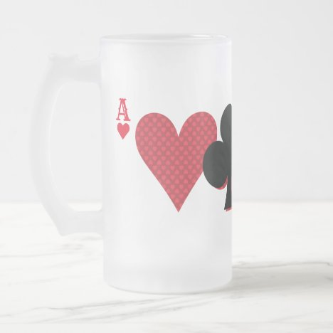 Personalized Monogram Playing Cards Bridge & Poker Frosted Glass Beer Mug