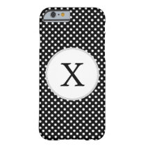 Personalized Monogram Polka Dots Pattern in Black Barely There iPhone 6 Case