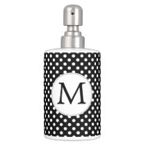 Personalized Monogram Polka Dots Pattern in Black Bath Set