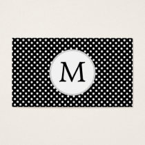 Personalized Monogram Polka Dots Pattern in Black Business Card