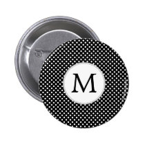 Personalized Monogram Polka Dots Pattern in Black Button