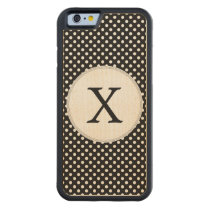 Personalized Monogram Polka Dots Pattern in Black Carved Maple iPhone 6 Bumper Case