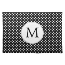 Personalized Monogram Polka Dots Pattern in Black Cloth Placemat