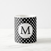 Personalized Monogram Polka Dots Pattern in Black Coffee Mug