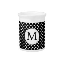 Personalized Monogram Polka Dots Pattern in Black Drink Pitcher