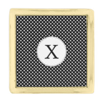Personalized Monogram Polka Dots Pattern in Black Gold Finish Lapel Pin