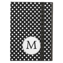 Personalized Monogram Polka Dots Pattern in Black iPad Air Cases