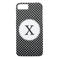 Personalized Monogram Polka Dots Pattern in Black iPhone 7 Case