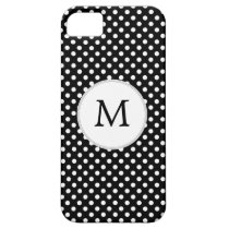 Personalized Monogram Polka Dots Pattern in Black iPhone SE/5/5s Case