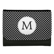 Personalized Monogram Polka Dots Pattern in Black Leather Wallets