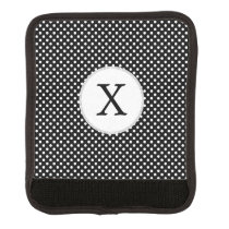 Personalized Monogram Polka Dots Pattern in Black Luggage Handle Wrap