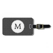 Personalized Monogram Polka Dots Pattern in Black Luggage Tag