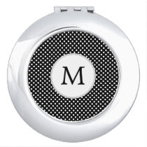 Personalized Monogram Polka Dots Pattern in Black Mirror For Makeup