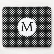 Personalized Monogram Polka Dots Pattern in Black Mouse Pad