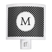Personalized Monogram Polka Dots Pattern in Black Night Light