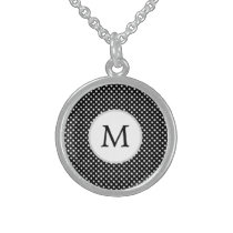 Personalized Monogram Polka Dots Pattern in Black Sterling Silver Necklace