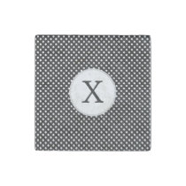 Personalized Monogram Polka Dots Pattern in Black Stone Magnet