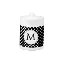 Personalized Monogram Polka Dots Pattern in Black Teapot