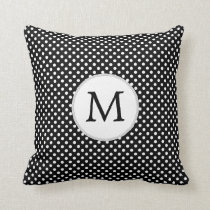 Personalized Monogram Polka Dots Pattern in Black Throw Pillow