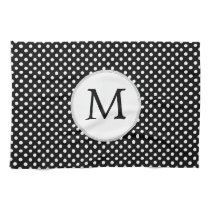 Personalized Monogram Polka Dots Pattern in Black Towel