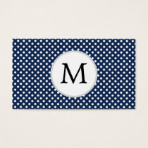 Personalized Monogram Polka Dots Pattern in Blue Business Card