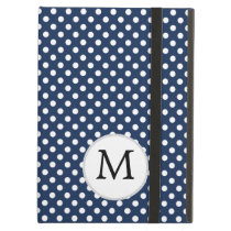 Personalized Monogram Polka Dots Pattern in Blue Case For iPad Air
