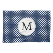 Personalized Monogram Polka Dots Pattern in Blue Hand Towel