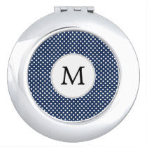 Personalized Monogram Polka Dots Pattern in Blue Makeup Mirror