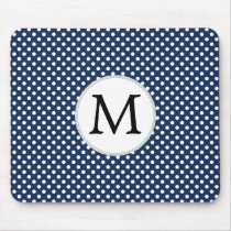 Personalized Monogram Polka Dots Pattern in Blue Mouse Pad