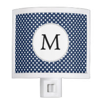 Personalized Monogram Polka Dots Pattern in Blue Night Light