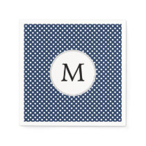 Personalized Monogram Polka Dots Pattern in Blue Paper Napkin