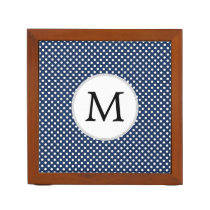 Personalized Monogram Polka Dots Pattern in Blue Pencil Holder