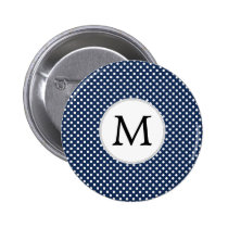 Personalized Monogram Polka Dots Pattern in Blue Pinback Button