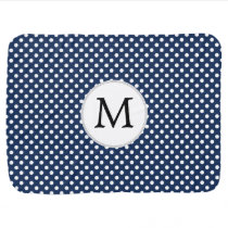 Personalized Monogram Polka Dots Pattern in Blue Receiving Blanket