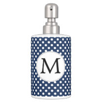 Personalized Monogram Polka Dots Pattern in Blue Soap Dispenser And Toothbrush Holder